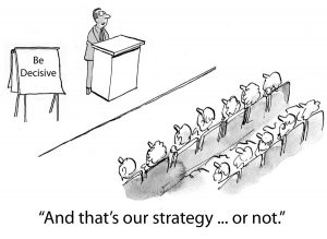 Cartoon of keynote speaker in 'be decisive' seminar, although speaker himself is indecisive.