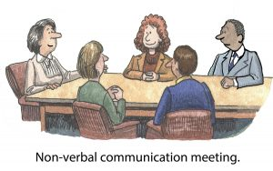 Cartoon of business people who are having a non-verbal communication meeting.
