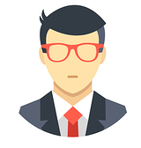 male avatar white glasses suit